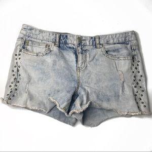 Maurices denim rhinestone embellished shorts